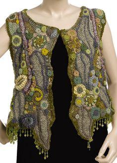 OOAK freeform crochet vest - Crystal Grove - front view by renatekirkpatrick, via Flickr