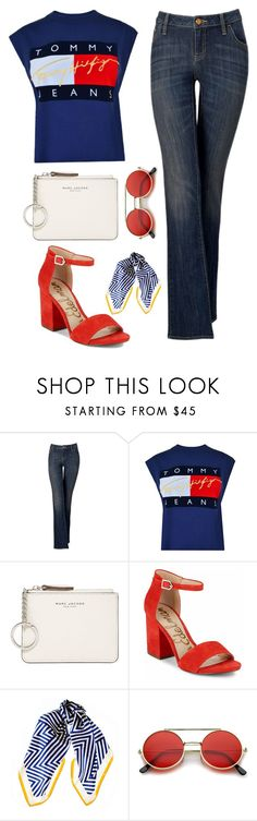 """""""Red White and Blue"""" by rev2fashion ❤ liked on Polyvore featuring Simply Vera, Tommy Hilfiger, Marc Jacobs, Sam Edelman, Black and jeansstyle"""