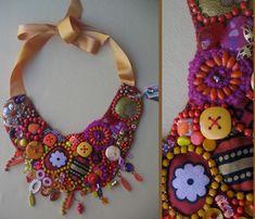 La gazza ladra- collana tessuto bottoni perline