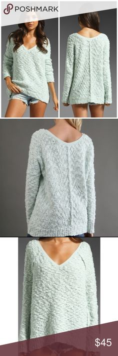 Free People Oversized Knit Sweater in Pastel Mint Excellent Condition! Oversized style. Beautiful very pastel pale blue / mint color. Size XS but would fit larger too due to the oversized style. Free People Sweaters V-Necks