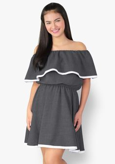 For a fun, girly, cheerful look today, this off-shoulder skater dress is a chic piece to wear. Woven fabric, gartered chest and waist. This one's optimistic, and a source of joy!
