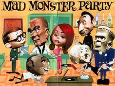 Mad Monster Party is an amazing stop motion animation movie made in 1967.  It was the only theatrical feature from Rankin/Bass — the outfit behind countless animated holiday TV specials includingRudolph the Red-Nosed Reindeer and Frosty the Snowman.  This wonderfully bizarre movie (rated G) celebrates the best of the movie monsters, even even going so far as to recruit Boris Karloff (the original Frankenstein) to supply the voice of Baron Von Frankenstein.