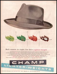 1953 Champ Men s Hats Original Vintage Print Ad Champ Dash Lighter Weight  Hats  3c344caaa589