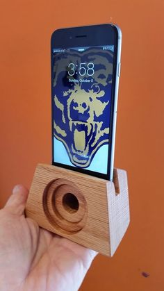 Each piece is a handcrafted, unique wood carving, ideal for amplifying the sound from your iPhone 6. There is no electricity needed, as the natural properties of the hardwood serve to amplify the sound coming from the iPhone itself. The type of wood used is based on availability in my