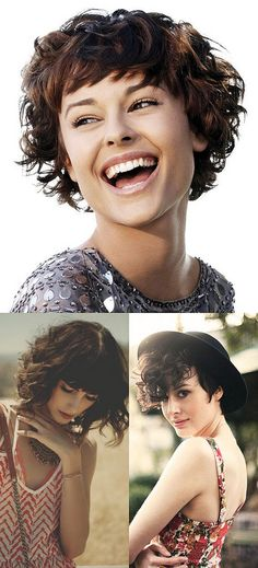 Fun style to try Short Curly Hair, Curly Girl, Curly Hair Styles, Pixie Ondulado, Pixie Mohawk, Curly Fringe, Hair Affair, Cool Style, Hair Makeup