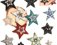 Stars Patch Embroidered Crystals Beaded Patches Sew on Applique Denim Jacket Patches For Clothes Bag Badge Punk patches for shirts, 1pcs