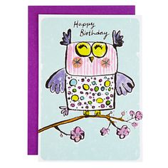 Owl Birthday Card Pinned by www.myowlbarn.com
