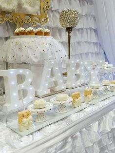 White and gold heaven themed baby shower party! See more party planning ideas at CatchMyParty.com!