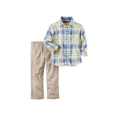 Baby Boy Carter's Plaid Shirt & Solid Pants Set, Size: 18 Months, Ovrfl Oth