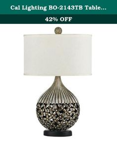 Cal Lighting BO-2143TB Table Lamp with White Fabric Shades, Coppery Finish. Cal Lighting Has An Exceptional Line Of Quality Products Aimed To Please Even The Most Discerning Of Consumers. Relish In The Design Of This 1 Light Table Lamp; From The Details In The White Fabric, To The Double Coated Coppery Finish, This Table Lamp Is Not Only Durable, But A Tastefully Elegant Showpiece.