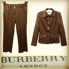 Burberry London $1,125 military inspired army brown cotton pants suit sz.8 @resaleriches price: $215 www.resalerichesnyc.com