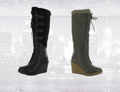gotta love the high wedge boots by Khombu