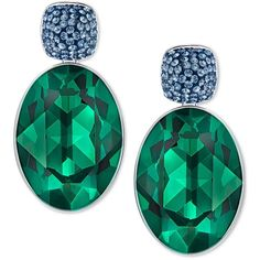 Swarovski Silver-Tone Oval Green Stone Drop Earrings (€79) ❤ liked on Polyvore featuring jewelry, earrings, silver, stone jewelry, drop earrings, silvertone jewelry, stone jewellery and swarovski jewelry