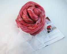 Nuno felting Scarf Kit, Color: Pommegranate
