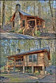 002 Small Log Cabin Homes Ideas Tiny Cabins, Tiny House Cabin, Log Cabin Homes, Cabins And Cottages, Tiny House Design, Log Cabins, Small Log Homes, Small Log Cabin Plans, Rustic Cabins