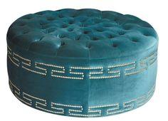 round velvet tufted ottoman with greek key border nailhead trim