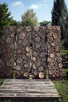 wood cross section panels wedding altar and pallet stage