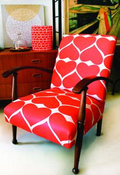 Grand Hearts in Kimono Red on hemp/cotton fabric from Adelaide's Umbrella Prints #ChairFabric