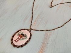 Treehouse cross stitch pendant on bronze frame, charm necklace, cross stich jewelry, vintage style, gift for her Treehouse, Necklace Lengths, Dark Brown, Arrow Necklace, Gifts For Her, Custom Design, Cross Stitch, Vintage Fashion, Bronze