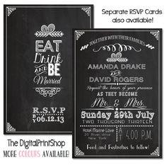 Wedding Reception Invitation Card Chalkboard Modern Rustic Wedding INVITATION