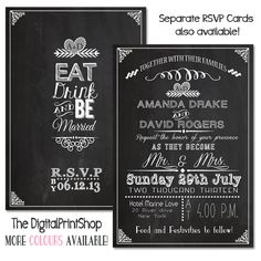 Wedding Reception Invitation Card Chalkboard Modern Rustic Wedding INVITATION