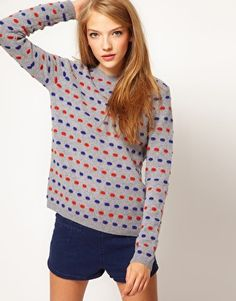 ASOS 3D Spot Sweater in Lambswool