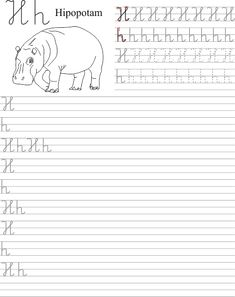 Szablon z nauką pisania litery H h Worksheets For Kids, Coloring Books, Kindergarten, Homeschool, Classroom, Calligraphy, Education, Children, Alphabet