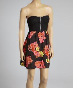 Black Floral Zipper Strapless Dress  