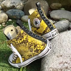 Converse All Star, Yellow Python Collection ! #handmade with passion by #matthewsmilano #sneakers #custom #python #yellow #allstar #converse #art #passion #love #black #snake #studs