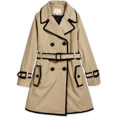 kate spade new york contrast-trim top liner trenchcoat ($148) ❤ liked on Polyvore featuring outerwear, coats, jackets, tops, khaki, double-breasted coat, a line trench coat, kate spade, khaki coat and kate spade coat