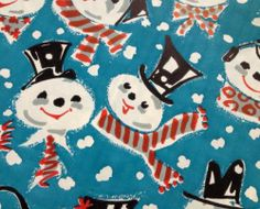 Vintage CHRISTMAS Wrapping Paper Jaunty SNOWMAN New Old Stock Gift Wrap