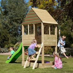 Wooden playhouse / slide ideas.