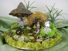 Miniature Fairy Gardens | Miniature Fairy Garden With Mushrooms by thefaerywatcher on Etsy