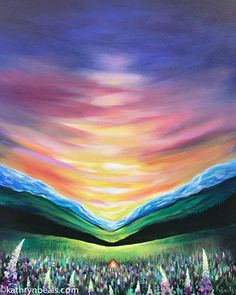 Northern Sunrise Painting Camping Landscape by kathrynbeals