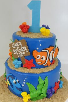 Finding Nemo birthday cake for toddlers Finding Nemo Cake, Finding Dory, Dory Cake, Festa Party, Party Cakes, Let Them Eat Cake, Cupcake Cakes, Cake Decorating, Dory Birthday Cake