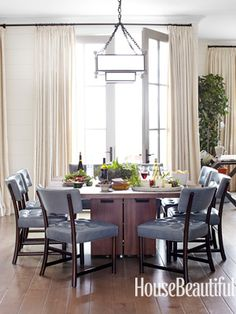 A masculine dining room. Design: Parrish Chilcoat and Joe Lucas. housebeautiful.com. #dining_room #mahogany #dining_table #leather_chairs