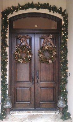 Cool 35 Gorgeous Farmhouse Front Door Entrance Design Ideas To Apply Asap. Double Front Entry Doors, Double Doors Exterior, Wood Entry Doors, Front Door Entrance, Front French Doors, Farmhouse Front Doors, Wooden Double Doors, Double Door Design, Front Door Design