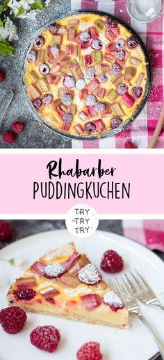 Puddingkuchen mit Rhabarber und Himbeeren