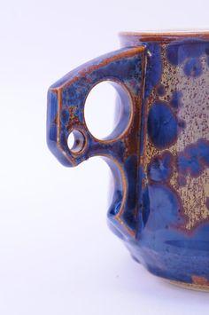 HANDLE!!! Ceramic Coffee Mug Ergonomic Handle Orange Blue Crystalline Glaze Porcelain Mug