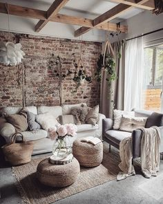 Good Luck pink peonies living room decorating idea Rustic house 10 Stylish Ways to Bring Good Luck to Your House Boho Living Room, Home And Living, Small Living, Living Room Brick Wall, Luxury Living Rooms, Romantic Living Room, Classy Living Room, Cute Living Room, Ikea Living Room