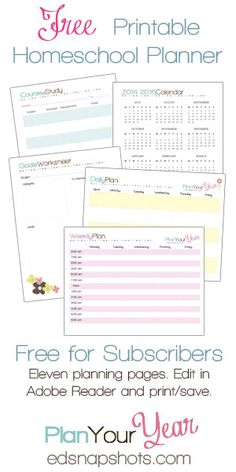 FREE Plan Your Year Homeschool Planning Pages for you. Get your homeschool in order with these fourteen free homeschool planner pages. (on FD)