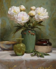 Peonies in Green by Laurie Kersey Oil ~ 24 x 20