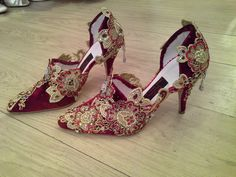 Velvet and lace bespoke wedding bridal hand made shoes, heels by Beretun Designs, Brighton