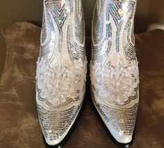 bridal bling cowboy boots country bride hand made with sequins pearls and beaded lace bridebridesmaid prom cowboycowgirl boots