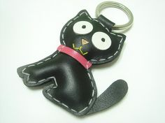 Leather Charm  MoMo the Cat Leather Keychain  by leatherprince, $20.90