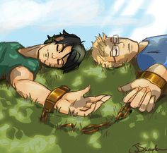 Looks like Percy and Jason... But why are they chained together??