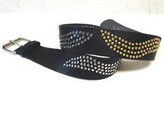 Black Leather Belt Wide Rivets Studs Cosplay by sweetie2sweetie