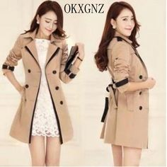 OKXGNZ Women Windbreaker Coat 2017 New Spring Medium long Fashion leisure Coat Big yards Double-breasted Slim Windbreaker Coat