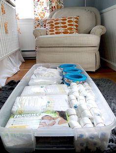 Storage under the crib