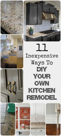 11 Ways to DIY Your Own Kitchen Remodel - including cabinets, flooring, backsplash, countertop & baseboard